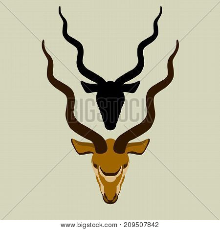 antelope head vector illustration style flat black silhouette front side
