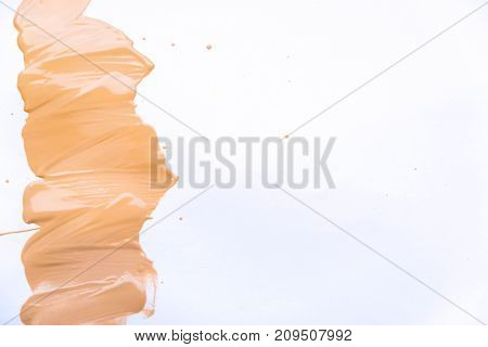 Makeup foundation blur cream isolated background. Top view collage corrective tonal base. Macro Tonal Foundation, skin tone. Foundation for all skin types. Closeup of flat Makeup. Set of tonal cream