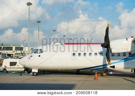 Turboprop Aircraft With Propellers In An Airport