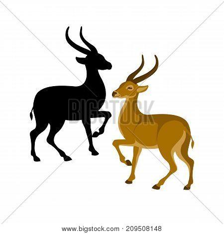 antelope vector illustration style flat black silhouette profile side