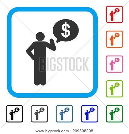 Businessman Idea icon. Flat grey iconic symbol in a light blue rounded frame. Black, gray, green, blue, red, orange color versions of Businessman Idea vector.