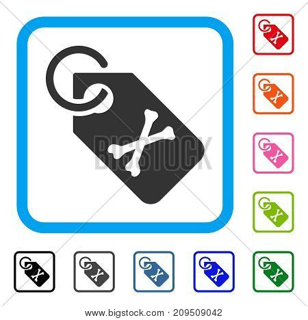 Death Bones Tag icon. Flat grey pictogram symbol in a light blue rounded square. Black, gray, green, blue, red, orange color versions of Death Bones Tag vector. Designed for web and app UI.