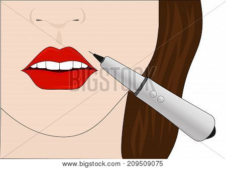 The procedure of permanent make-up of lips. Vector