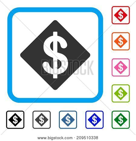 Dollar Rhombus icon. Flat gray iconic symbol in a light blue rounded rectangular frame. Black, gray, green, blue, red, orange color additional versions of Dollar Rhombus vector.