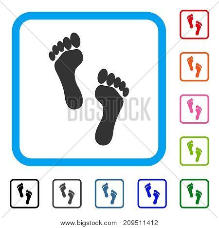 Footprints icon. Flat gray iconic symbol inside a light blue rounded rectangle. Black, gray, green, blue, red, orange color additional versions of Footprints vector.