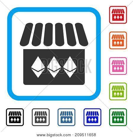 Jewelry Shop icon. Flat gray pictogram symbol in a light blue rounded squared frame. Black, gray, green, blue, red, orange color variants of Jewelry Shop vector.