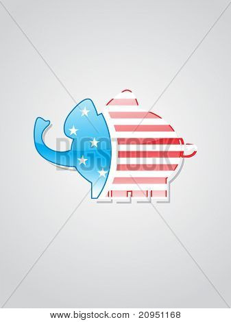 grey backround with isolated elephant in us flag