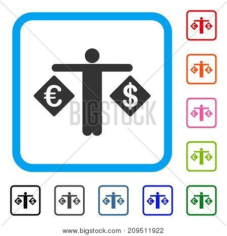Person Compare Dollar And Euro icon. Flat gray pictogram symbol inside a light blue rounded rectangular frame. Black, gray, green, blue, red,
