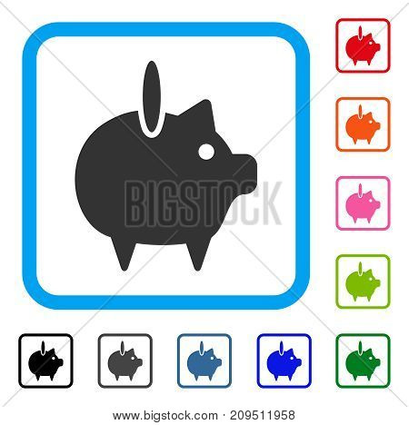 Piggy Bank icon. Flat grey iconic symbol in a light blue rounded frame. Black, gray, green, blue, red, orange color additional versions of Piggy Bank vector. Designed for web and software interfaces.
