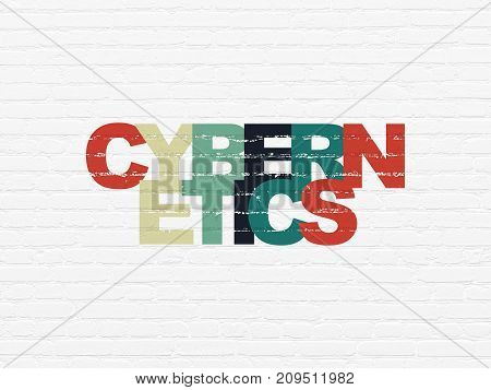 Science concept: Painted multicolor text Cybernetics on White Brick wall background