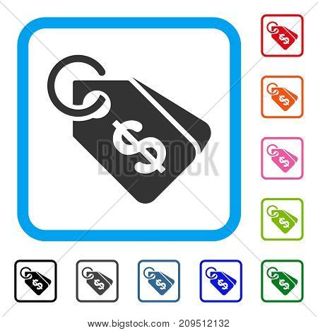 Price Tags icon. Flat grey iconic symbol inside a light blue rounded squared frame. Black, gray, green, blue, red, orange color versions of Price Tags vector. Designed for web and software interfaces.