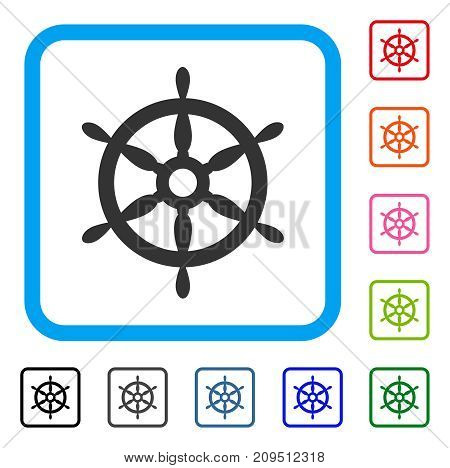 Ship Steering Wheel icon. Flat grey pictogram symbol in a light blue rounded squared frame. Black, gray, green, blue, red, orange color variants of Ship Steering Wheel vector.