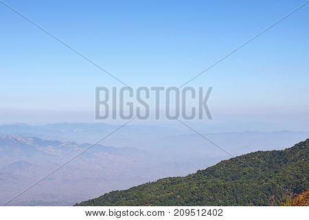Mountain peaks landscape of Kew Mae Pan nature trail at Doi Inthanon natuonal park Chaingmai Thailand