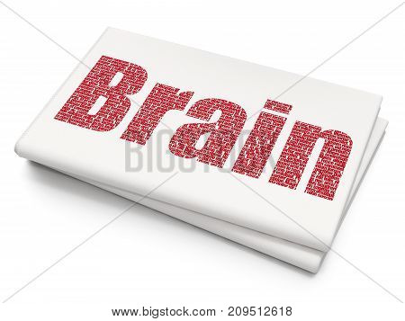 Medicine concept: Pixelated red text Brain on Blank Newspaper background, 3D rendering