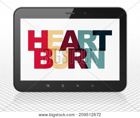 Medicine concept: Tablet Pc Computer with Painted multicolor text Heartburn on display, 3D rendering