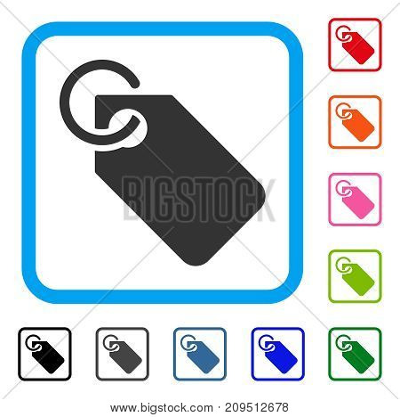 Tag icon. Flat gray pictogram symbol in a light blue rounded rectangle. Black, gray, green, blue, red, orange color variants of Tag vector. Designed for web and application user interface.