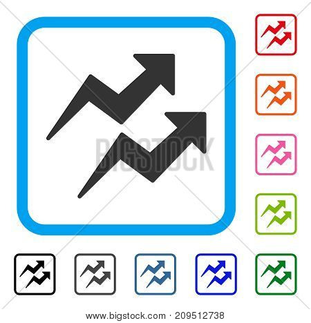 Trends Arrows icon. Flat gray iconic symbol in a light blue rounded frame. Black, gray, green, blue, red, orange color additional versions of Trends Arrows vector.