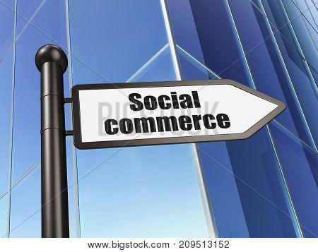 Advertising concept: sign Social Commerce on Building background, 3D rendering