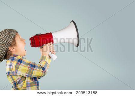 One little boy shouting shout megaphone play