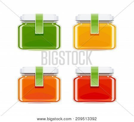 Glass juice bottles. Ecological beverage. Vegetarian healthy food. Orange, tomato, carrot eco drink. Isolated white background. Vector illustration.