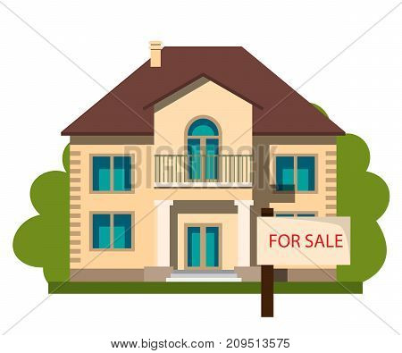 House for sale. Vector illustration in flat style