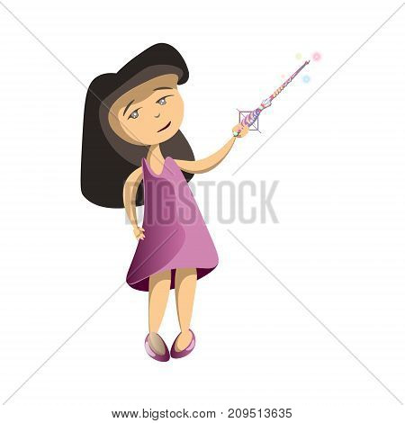 Young girl with star scepter. Vector illustration