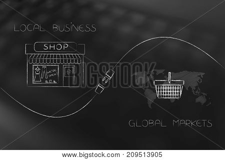 Shop And World Map With Shopping Basket With Plug In Between