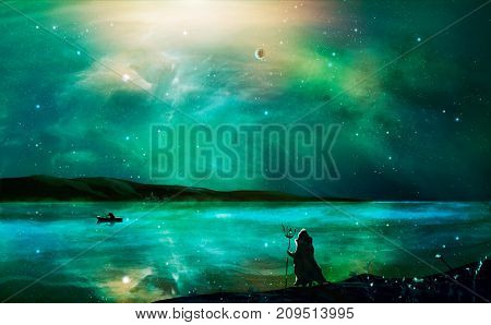 Sci-fi Landscape Digital Painting With Nebula, Magician, Planet, Mountain, Fisherman And Lake In Gre