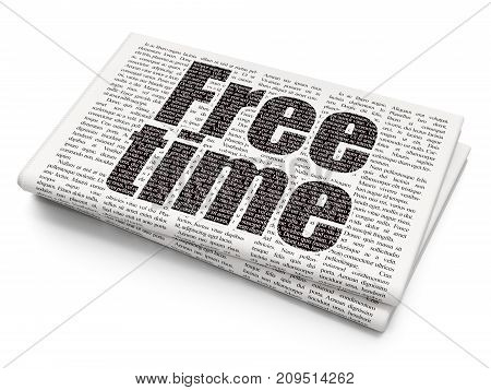 Time concept: Pixelated black text Free Time on Newspaper background, 3D rendering