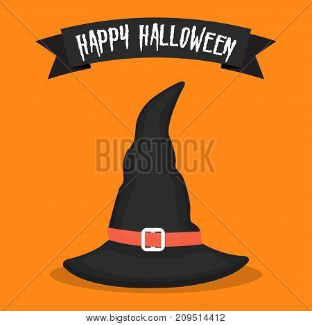 Witch hat icon on orange background. Halloween icon. Vector illustration
