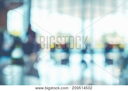 Blur Background,businessman Walking At Corridor In Convention Hall, Office Building Hall Way Backgro