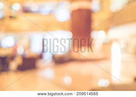 Blur Background,office Reception Zone At Corridor In Modern Building With Bokeh Light