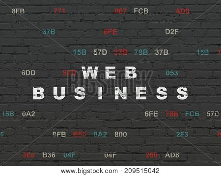 Web design concept: Painted white text Web Business on Black Brick wall background with Hexadecimal Code