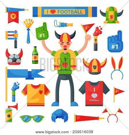 Colored football soccer fan attribute rooter buff man sport character accessories tools to cheer for your favorite team vector illustration. Supporter clothes signal uniform.