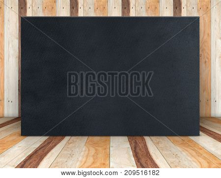 Blank Black Fabric Poster Canvas At Wooden Plank Room,mock Up Template For Adding Your Content Or De