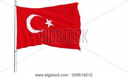 Flag of Turkey on a flagpole fluttering in the wind on a white background 3d rendering