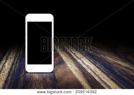 Mobile Phone On Dark Brown Wood Floor Perspective Background For Display Or Montage Of Design On Scr