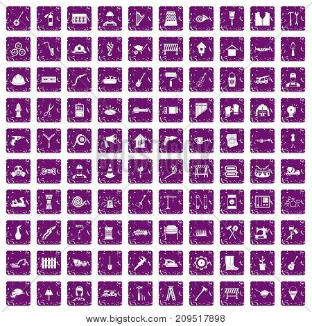 100 tools icons set in grunge style purple color isolated on white background vector illustration
