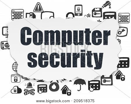 Security concept: Painted black text Computer Security on Torn Paper background with  Hand Drawn Security Icons