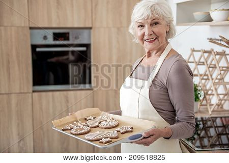 Waist up portrait of happy old woman holding tray with self-made Christmas cookies. She is standing and smiling. Modern oven is on background