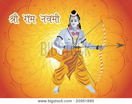 creative swirl background with lord rama, vector wallpaper poster