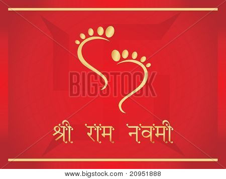 red background with swastika and god feet