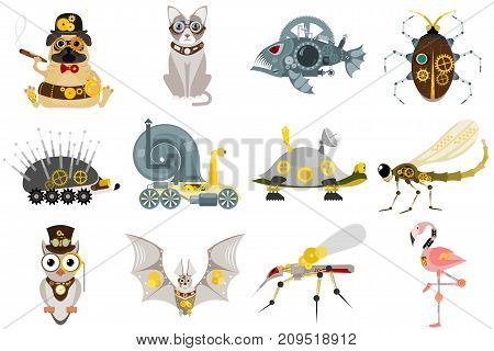 Stylized metal steampunk mechanic robots animals machine steam gear insect punk art machinery vector illustration. Metallic technology vintage toy mechanism.
