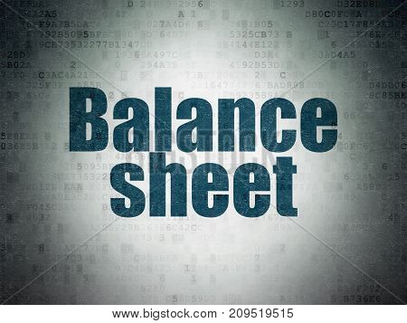 Banking concept: Painted blue word Balance Sheet on Digital Data Paper background