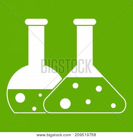Transparent flasks icon white isolated on green background. Vector illustration