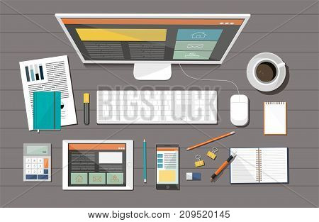 Business corporate organization. Vector devices. Flat design style concept.