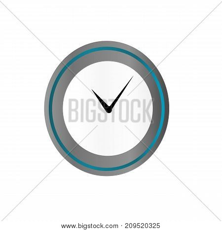 Clock in blue and silver style isolated on background. Clock icon page symbol for your web site design Clock icon logo app UI Clock icon Vector