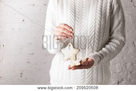 Christmas cookies in a star shape in female hands. The holiday gift. New year. Front view. Close-up. A bright background. Copy space