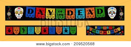 Mexican bunting for Day of the Dead, Dia de los Muertos. Horizontal web banners set