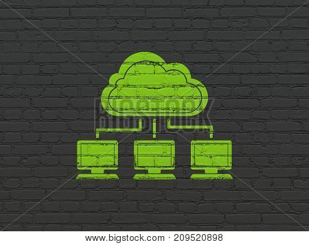 Cloud technology concept: Painted green Cloud Network icon on Black Brick wall background